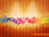 Colorful Circles on the Woody Background — Stock Vector