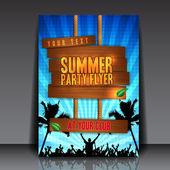 Blue Summer Party Flyer Design — Stock Vector