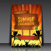 Orange Summer Party Flyer Design — Vecteur
