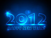 2012 - New Year Card - Blue Neon Lights — Stock Vector