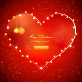 Red Holiday Xmas Vector Design with Frame of Heart — Stock Vector
