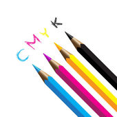 Color pencils cmyk four color process cyan magenta yellow black — Stock Vector