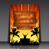 Orange Summer Party Flyer Design — Stock Vector