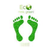 Green footprint made from grass. Think Green. Ecology Concept. — Stock Vector