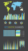Collection Of Diagrams, Charts and Globe - Infographic Elements — Vettoriale Stock