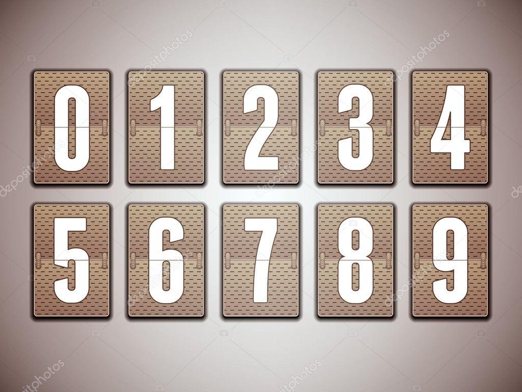 数字在机械记分牌-详细的矢量设计