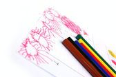 Kid's Drawing Spring — Stock Photo