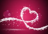 Corazón formado con luces brillantes — Vector de stock