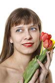 La jeune fille détient tulipes — Photo