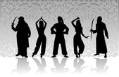 Arabic costumes vector silhouettes — Stock Vector