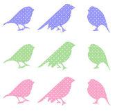 множество птиц каракули мультфильм — Cтоковый вектор