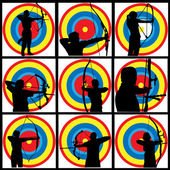 Archery Silhouettes with target — Stock Vector