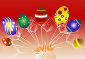 Uova di Pasqua con tarassaco — Vettoriale Stock