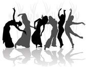 Silhouettes oriental dance — Stock Vector