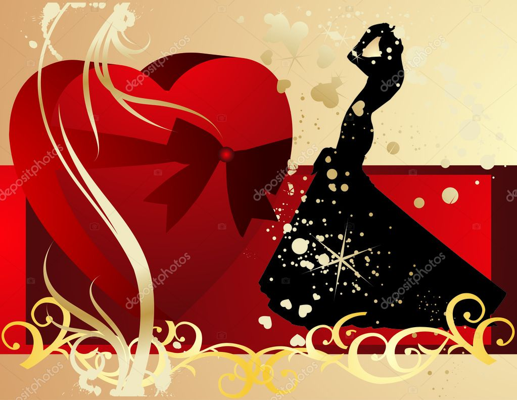 Heart gift present with bride — Stock Vector #10609439