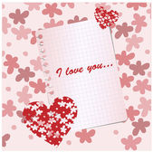 紙の心と愛の花を持つ — ストックベクタ