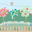 Royalty-Free Stock Imagen vectorial: Vector background with cherry trees and bird