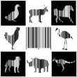 Animals as bar code — Stock Vector