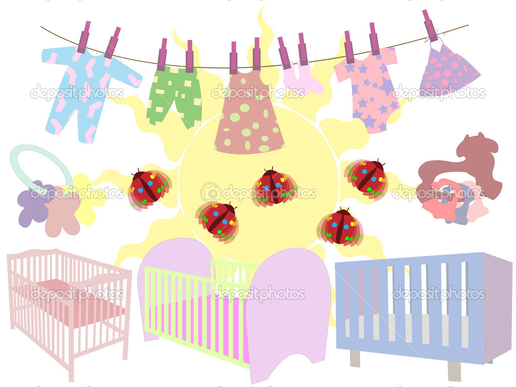 婴儿床, 拨浪鼓和服装矢量图