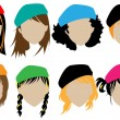 Silhouettes wig set with hat — Stock Vector #8778415