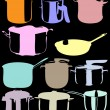 Pots and pans — Stock Vector