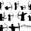 Stock Vector: Archery Silhouettes