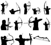 Archery Silhouettes — Stock Vector