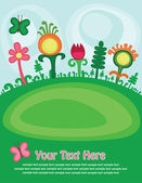 Cute childlike magic meadow. vector illustration — Vector de stock