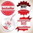 Bestseller. Red labels. Vector set — Vector de stock #10116735