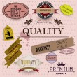 Set of Superior Quality and Satisfaction Guarantee Badges, Label - Vettoriali Stock