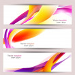 Set of three colorful banners. Designed in the same style — Stock Vector