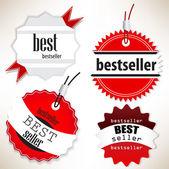 Best-seller. étiquettes rouges. set vector — Vecteur