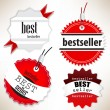Bestseller. Red labels. Vector set — Vector de stock #10629074