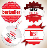 Bestseller. Red labels. Vector set — ストックベクタ