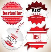 Bestseller. Red labels. Vector set — Stock Vector
