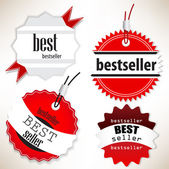 Bestseller. Red labels. Vector set — Stockvektor