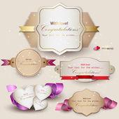 Collection de cartes-cadeaux avec des rubans. fond de vecteur — Vecteur
