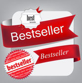 Bestseller. Red banners and labels. Vector set — Stok Vektör