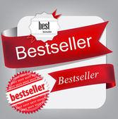 Bestseller. rote fahnen und aufkleber. vektor-satz — Stockvektor