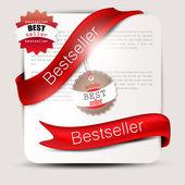 畅销书。红色横幅和标签。矢量集 — 图库矢量图片