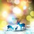 Beautiful Christmas background with reindeer and place for text. — Stock Vector