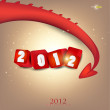 Greeting card. 2012 year of Dragon. — Stock Vector
