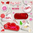 Stock Vector: Christmas Sale. Paper discount coupons