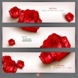 Set of three banners with red gifts. Valentine's Day. Vector ill — Stock Vector