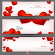 Set of three banners with red hearts. Valentine's Day. Vector ba - Stock Vector