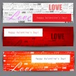 Set of three stylized banners. Valentine's Day. Vector backgroun — Stock Vector
