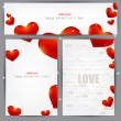 Set of three banners with red hearts. Valentine's Day. Vector ba — Stock Vector