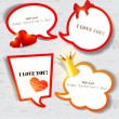 Colorful paper bubble for speech. Valentines day. Vector backgro — Stock Vector