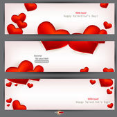 Set of three banners with red hearts. Valentine's Day. Vector ba — Vettoriale Stock