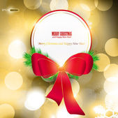 Elegant Christmas background with red ribbon and place for text. — Stock Vector
